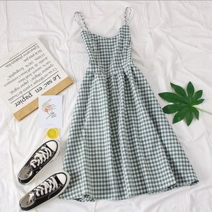 Spaghetti Strap Gingham A-Line Dress